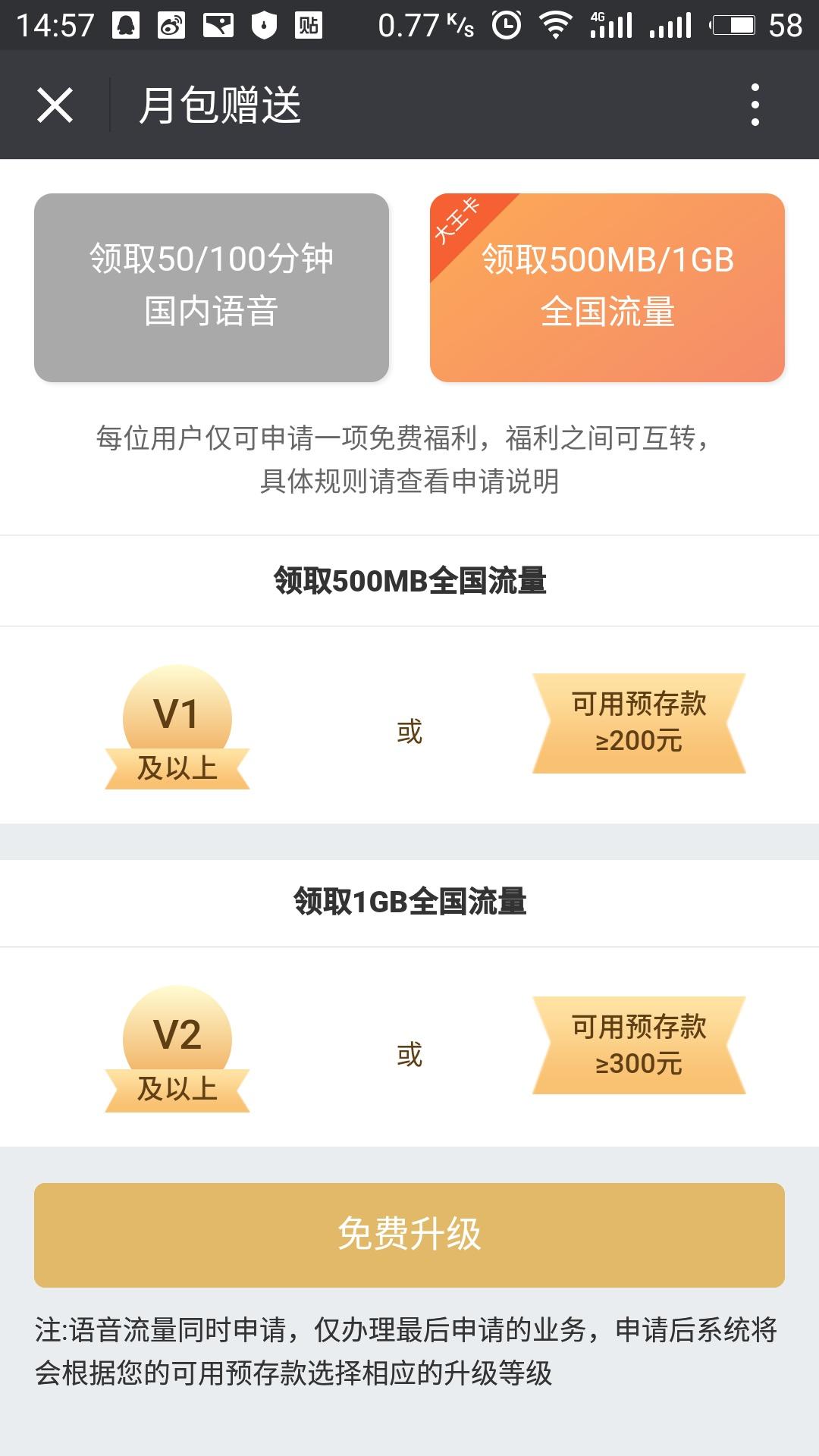 腾讯王卡福利再升级:每月免费送流量/通话 活动线报 第2张