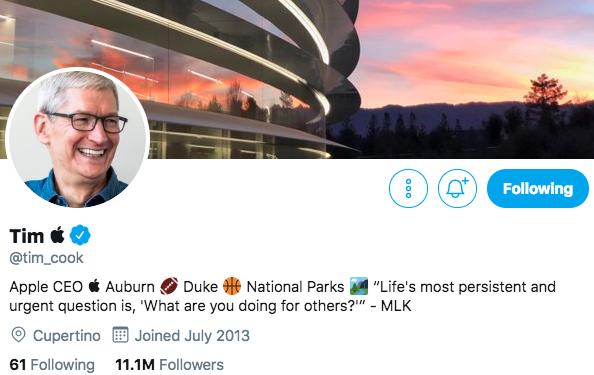 特朗普把库克叫成苹果,库克立马把推特名改了,不愧是营销天才 互联网 第2张