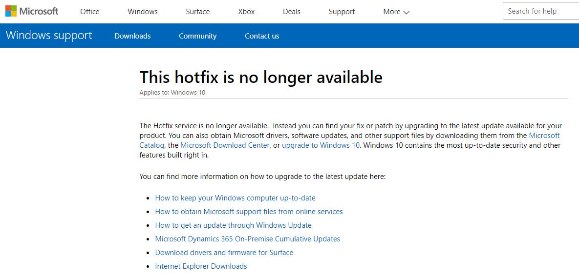 微软停止对Windows热修补(Hotfix)服务的支持